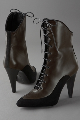 Proenza Schouler Lace-Up Bootie on Stacked Heel