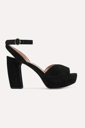 Miu Miu Suede Platform Sandals - Black