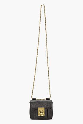 Chloé Black grained leather mini Elsie bag