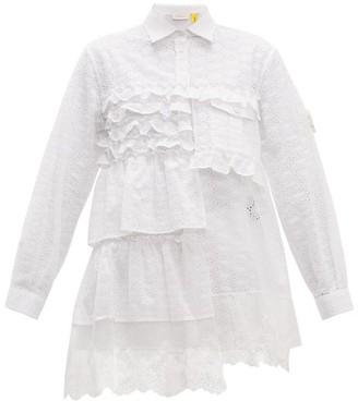 Simone Rocha 4 Moncler Broderie Anglaise Ruffled Cotton Blend Shirt - Womens - White