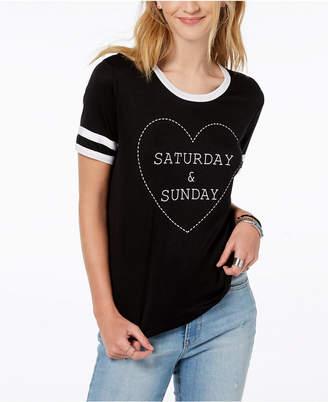 Rebellious One Juniors' Saturday & Sunday Graphic-Print T-Shirt
