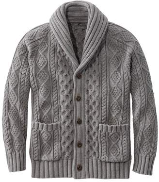 L.L. Bean L.L.Bean Men's Signature Cotton Fisherman Sweater, Shawl-Collar Cardigan
