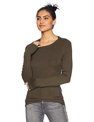 Michael Stars Women's 2x1 Rib Long Sleeve Crew Neck