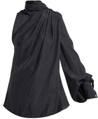 Hillier Bartley - Asymmetric Fringed Scarf Silk Satin Blouse - Womens - Navy White