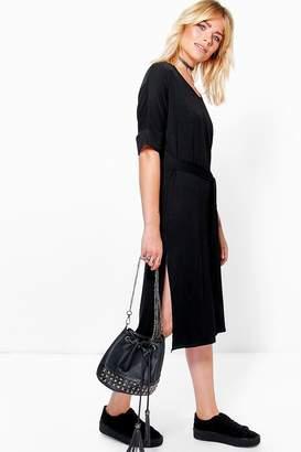boohoo Lilly Tie Waist T-Shirt Midi Dress