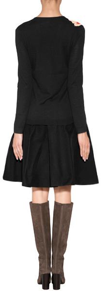 Jil Sander Navy Wool Knit Cardigan in Black