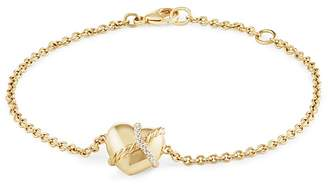 David Yurman Le Petit Coeur Sculpted Heart Chain Bracelet with Diamonds in 18K Gold