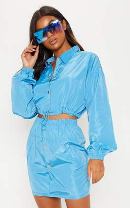 PrettyLittleThing Blue Shell Suit Jacket