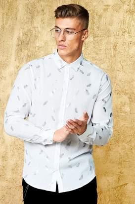 boohoo Metallic Feather Print Long Sleeve Sheer Shirt