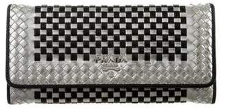Prada Metallic Madras Zip Around Wallet