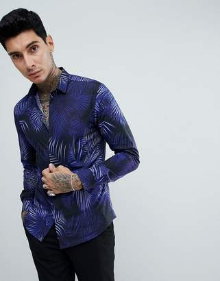 Twisted Tailor skinny long sleeve shirt in black palm print