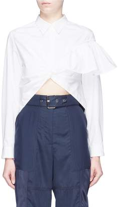 3.1 Phillip Lim Ruffle shoulder twist front high-low blouse