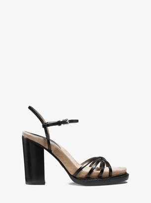 Michael Kors Raina Vachetta Leather and Suede Platform Sandal