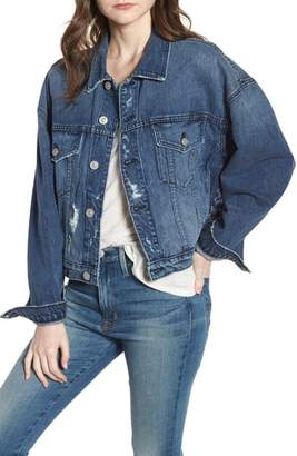 Hudson Rei Lace-Up Crop Denim Jacket