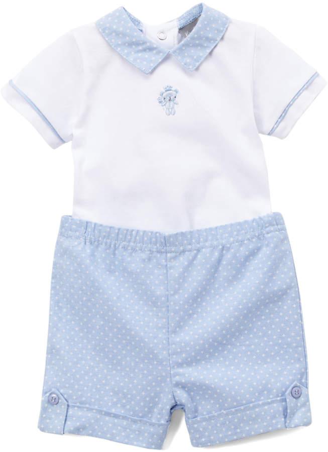 Blue & White Dot Bodysuit & Shorts - Newborn