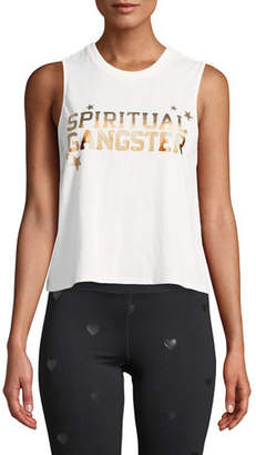 Spiritual Gangster Star-Logo Crewneck Sleeveless Active Crop Tank