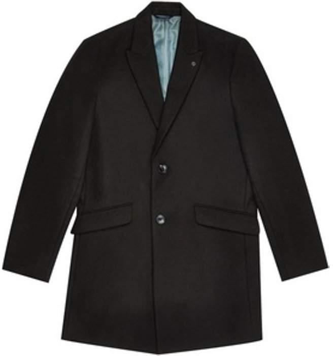 Womens **Burton Black Faux Wool Chesterfield Coat
