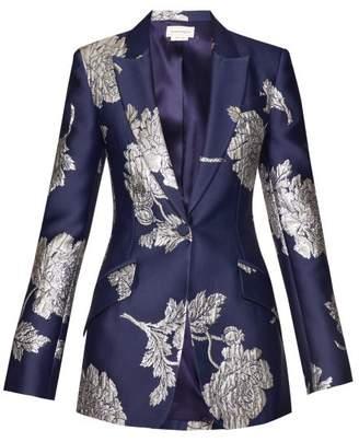 Alexander McQueen Floral Jacquard Single Breasted Satin Blazer - Womens - Navy Multi