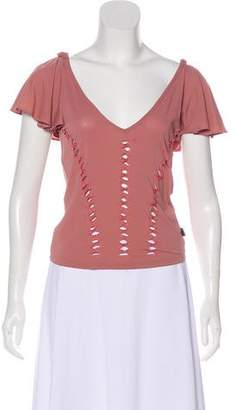 Just Cavalli Short Sleeve Cut-Out Top