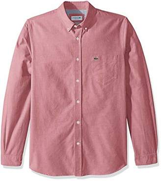 Lacoste Men's Long Sleeve Oxford Button Down Collar Regular Fit Woven Shirt