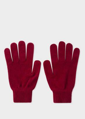 Paul Smith Men's Burgundy Cashmere-Blend Gloves
