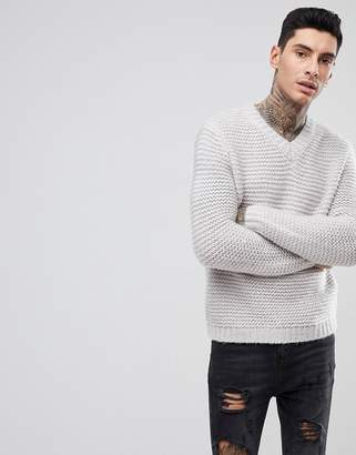 Asos DESIGN Heavyweight Knitted V Neck Sweater In Gray
