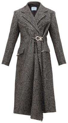 Prada Gathered Waist Raw Edge Wool Blend Coat - Womens - Black White