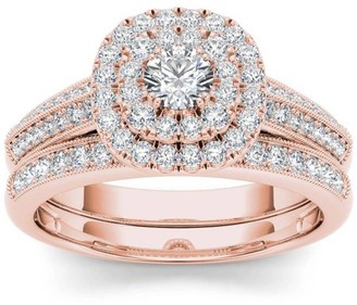 Imperial Diamond Imperial 7/8 Carat T.W. Diamond Double Halo Vintage 10kt Rose Gold Engagement Ring Set