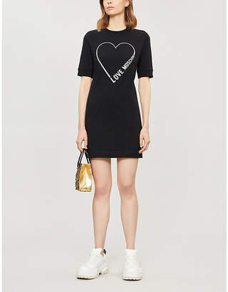 Love Moschino Glitter-logo motif stretch-cotton dress