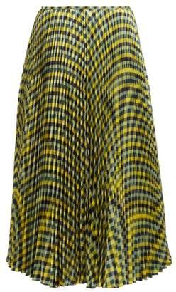 Joseph Abbot Pleated Diamond Print Silk Skirt - Womens - Yellow Multi