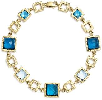 Bloomingdale's London Blue and Swiss Blue Topaz Geometric Bracelet in 14K Yellow Gold - 100% Exclusive