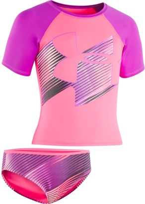 Under Armour Girls' Pre-School UA Jetset Big Logo Rash Guard Set
