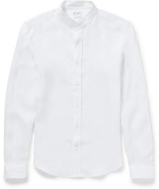 Brunello Cucinelli Grandad-Collar Linen Shirt
