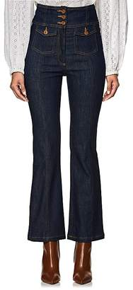 Ulla Johnson Women's Ellis High-Waist Crop Flared Jeans