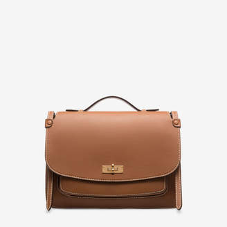 Bally Sallie Brown, Women's bovine leather crossbody satchel bag in tan