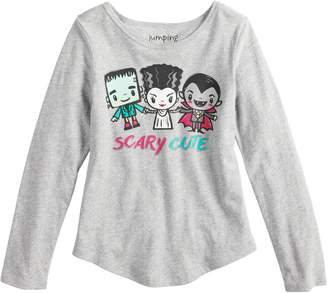 "Girls 4-10 Jumping Beans Little Monsters ""Scary Cute"" Glittery Graphic Tee"