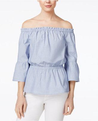 kensie Oxford Cotton Off-The-Shoulder Top $69 thestylecure.com