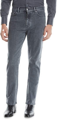 Ermenegildo Zegna Men's Straight-Leg Stretch-Denim Jeans, Gray-Black