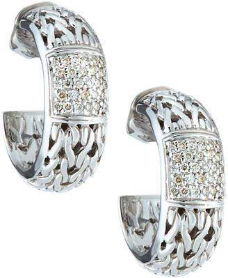 John Hardy Silver Carved Chain Diamond Pave Medium Hoop Earrings