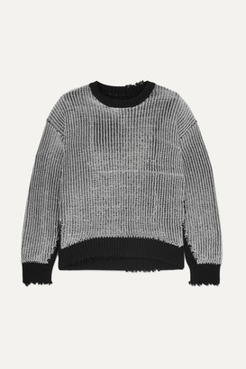 RtA Emmet Distressed Ribbed Lurex And Cotton Sweater - Silver