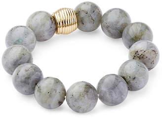Catherine Canino Labradorite Ribbed Stretch Bracelet - Gray
