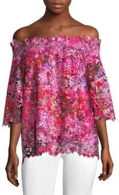 Elie Tahari Off-The-Shoulder Floral-Print Blouse