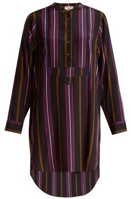 Figue Thalie Stripe Print Silk Shirtdress - Womens - Purple Multi