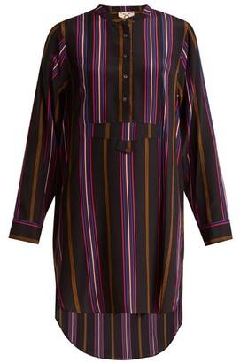 Figue - Thalie Stripe Print Silk Shirt Dress - Womens - Purple Multi