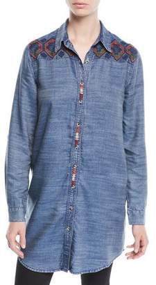 Tolani Tina Button-Front Long Chambray Tunic w/ Embroidery