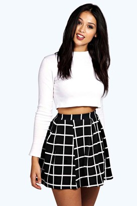 ba86a3b297bfa boohoo Petite Checked Box Pleat Skater Skirt