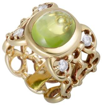 Christian Dior 18K Yellow Gold 0.40ct Diamond and Peridot Cabochon Band Ring Size 5.5
