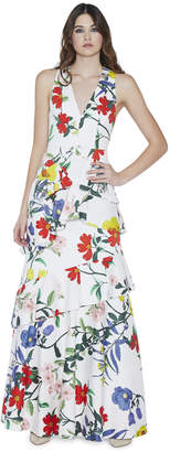 Alice + Olivia Flossie Ruffle Tiered Gown