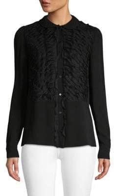 Valentino Ruffled Silk Button-Down Shirt