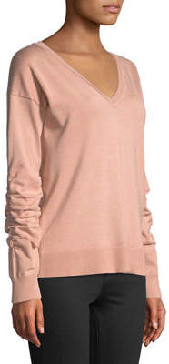 Neiman Marcus V-Neck Ruched-Sleeve Sweater